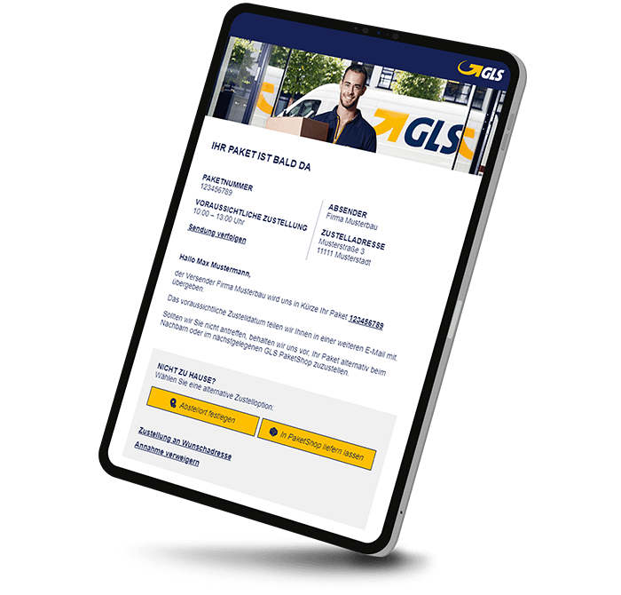 GLS parcel service notification mail FlexDeliveryService