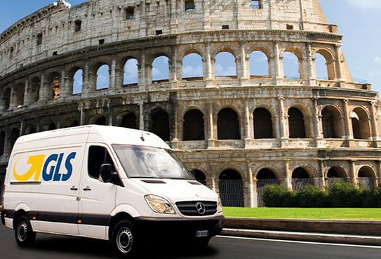 International express deliveries – a GLS parcel service truck drives past the Colosseum in Rome